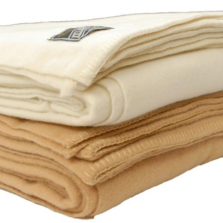 Wool blanket camel and natural white