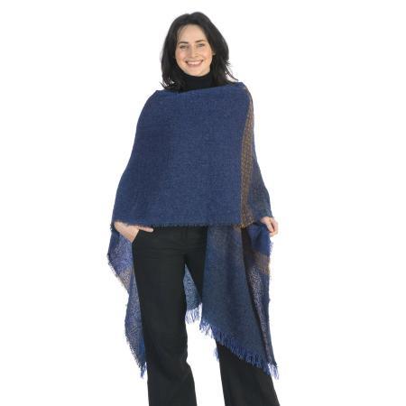 celtic wool ruana shawl in cobalt