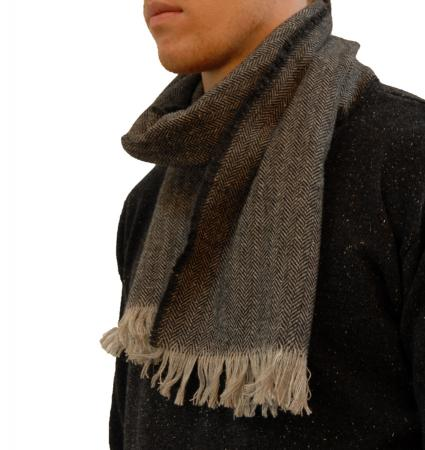 mens lambswool suit scarf in charcoal and taupe herringbone