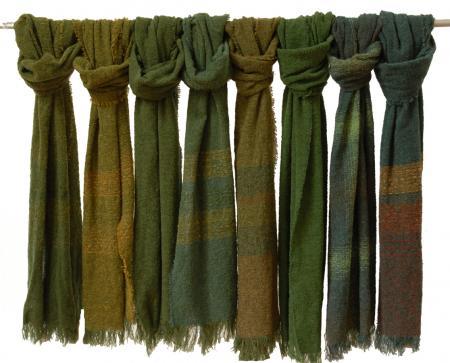 Celtic wool scarf swatch 2019 Greens