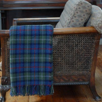 merino tartan wool throw over chair