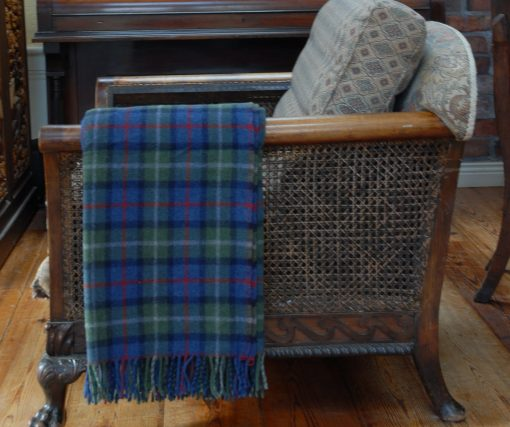 merino tartan wool throw over chair