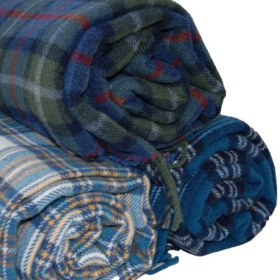 lambswool woven tartan throw bundle