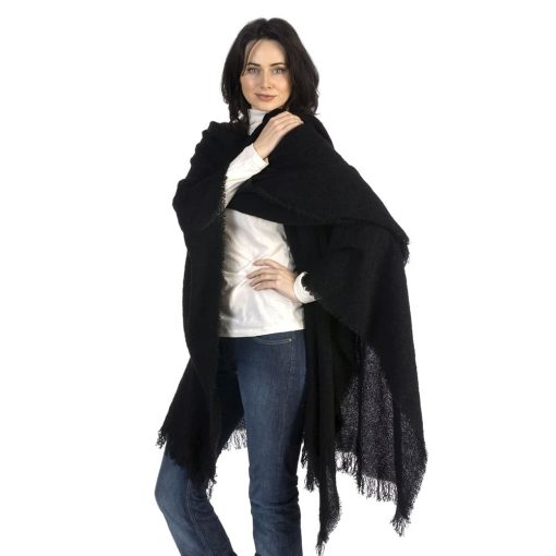 black wool ruana throw