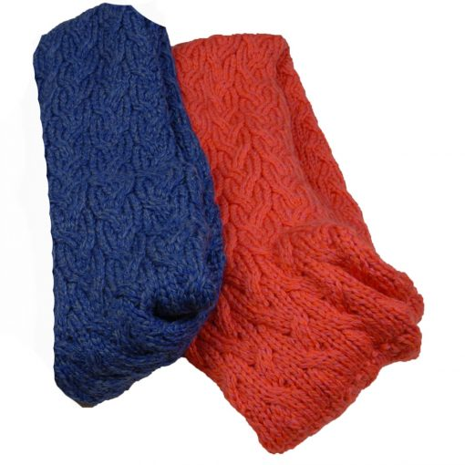 Supersoft lambswool snood swatch coral denim