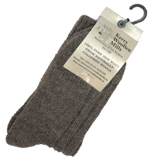 thick wool hiking socks in mid brown colour. Label shows Traditional undyed natural wool from Jacob sheep . Irish jacob sheep are mostly farmed on Galway lowlands