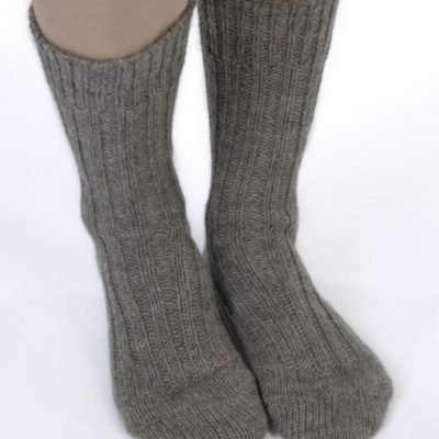 Thick wool hiking socks in mid brown colour. Traditional undyed natural wool from Jacob sheep . Irish jacob sheep are mostly farmed on Galway lowlands, suitable for hiking