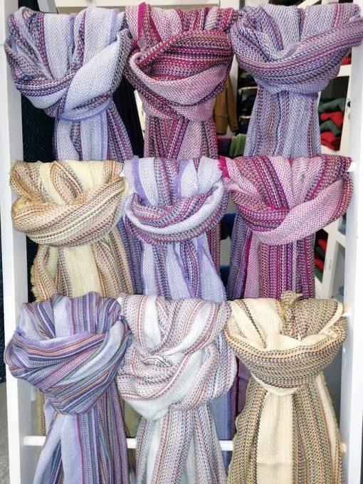 Crios shawl swatch on ladder