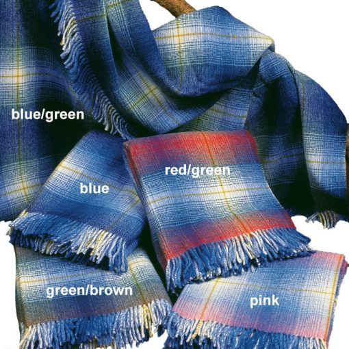Blue checked blankets in a variety of weaves