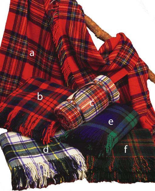 Variety of tartan wool trhows