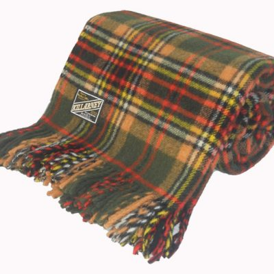 tartan check wool throw with green, orange, red, yellow and black