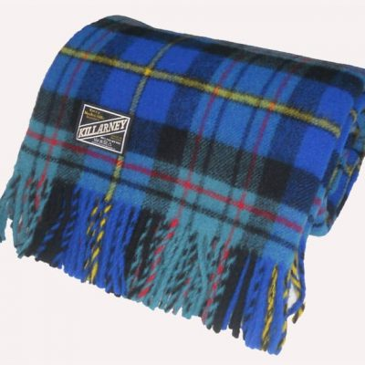 tartan check wool throw with blue, duck egg blue, red, yellow and black