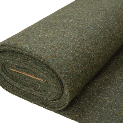 Donegal tweed fabric in Green Fleck